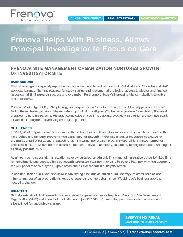 Frenova Helps With Business, Allows Principal Investigator