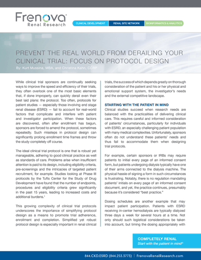 Prevent the Real World From Derailing Your Clinical Trial: Focus On Protocol Design Cover